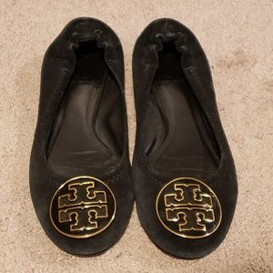 Tory Burch Reva Black Suede Ballet Flats Size 5.5